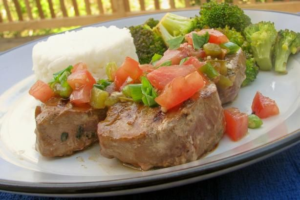 Grilled Tuna Steaks With Tomato and Herb Topping | Recipe