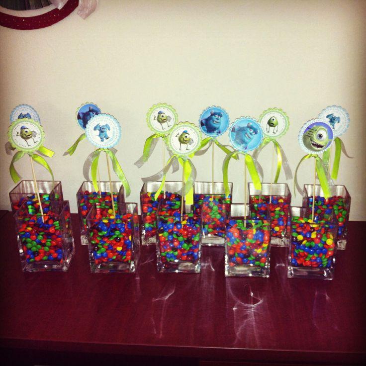 M m 39 s centerpieces monster inc theme baby shower decs for M m decorations parties
