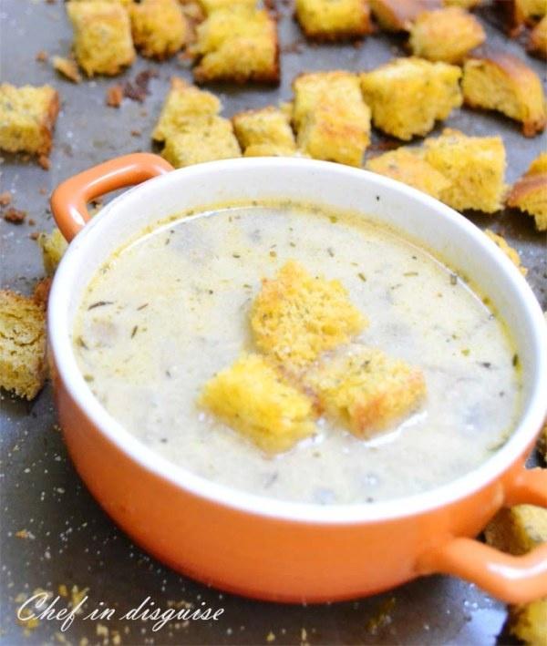 Garlic Mushroom soup and croutons