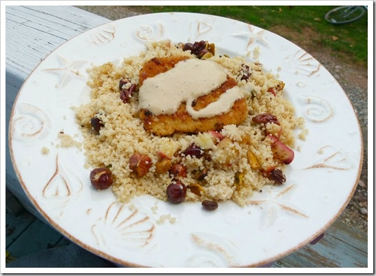 Gardein Turkey cutlets and Agave Dijon Sauce with Wheat couscous was ...