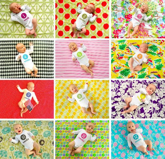 Cute idea for monthly baby pictures.