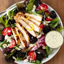 Salad with fresh berries, grilled lemon chicken, feta and poppy seed ...