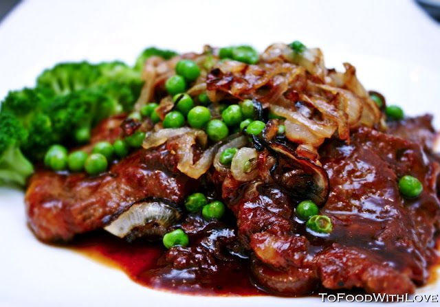 Chinese Beef Steak with Peas and Caramelized Onions