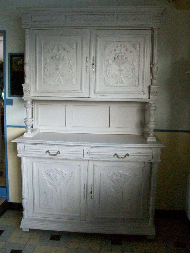 Buffet henri 2 peint en fleur de lin meubles r nov s for Meuble henri 2