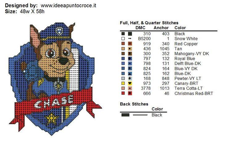 Схемы вышивки крестом щенячий патруль 7