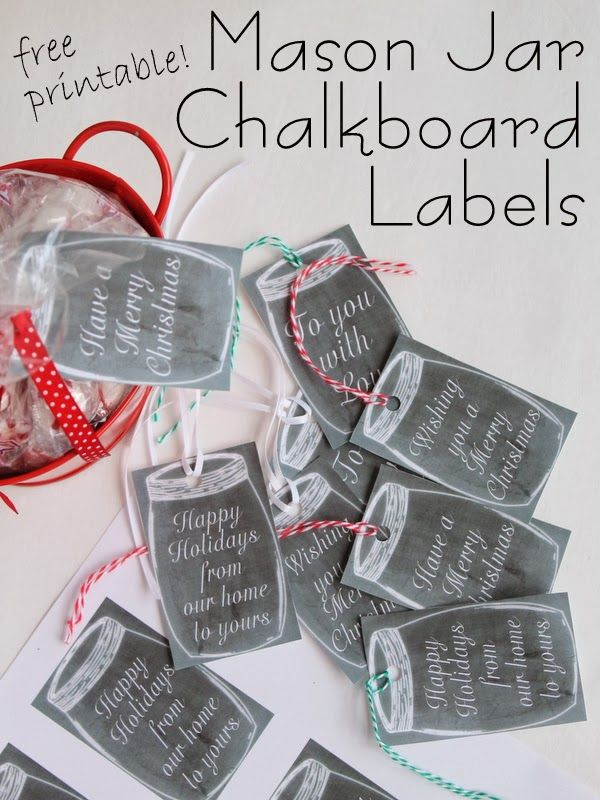 Free Printable Chalkboard Mason Jar Gift Tags -- print these free tags to add to your holiday gifts today!