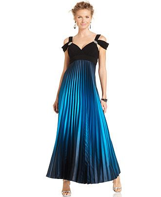 Betsy & Adam Dress, Sleeveless Off-Shoulder Pleated Ombre Gown - Dresses - Women - Macy's