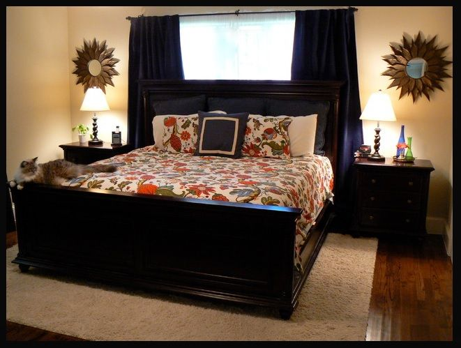 Curtains behind bed   For the Home   Pinterest