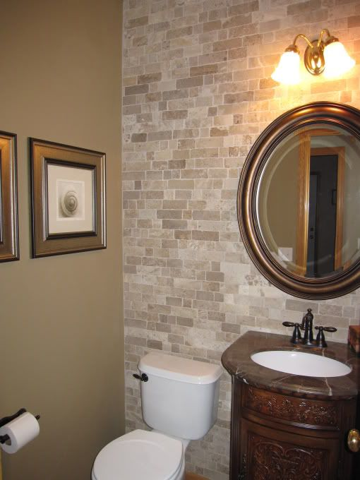 Considering this color for half bathroom for the home for Half tiled bathroom ideas
