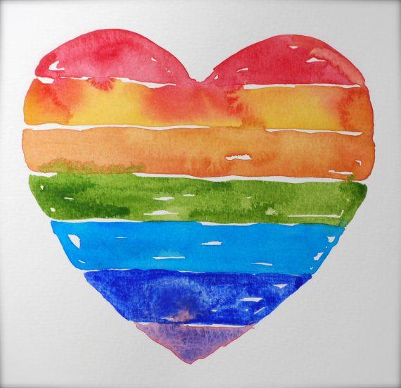 Rainbow Heart Watercolor Original Painting, Red Orange ...