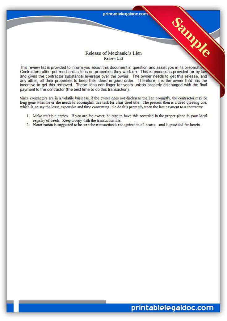 Free Printable Release Of Mechanic's Lien Legal Forms