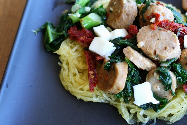 Spaghetti Squash with Sausage, Kale, and Sun-dried Tomatoes - yum!!