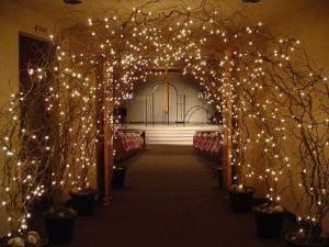 lighted branch wedding arch