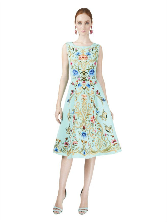 SLEEVELESS FLORAL EMBROIDERED DRESS  Oscar de la Renta