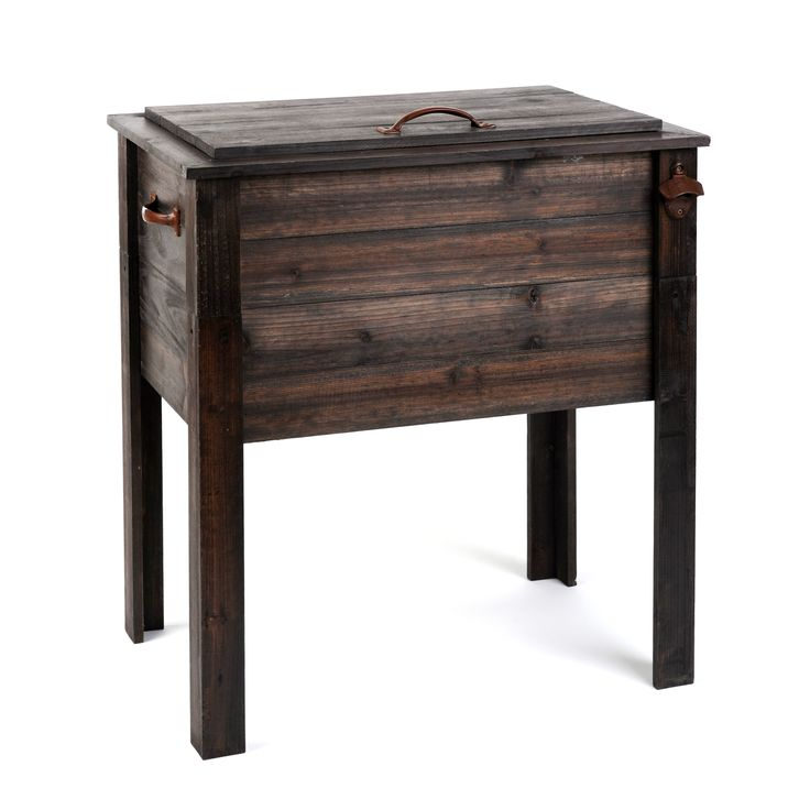 Ice Cooler Chest SKU: 109037  $149.99  Product Info  Measures 26.7 inches x 18.1 inches x 31.1 inches  Crafted of pine wood  Outdoor safe  Features bottle opener and drain plug for easy draining