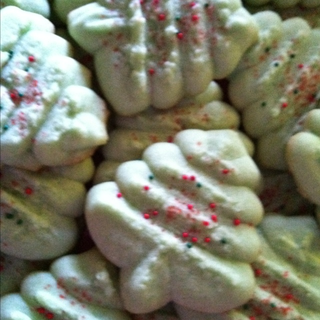 Classic spritz cookies made with Pampered Chef cookie press.