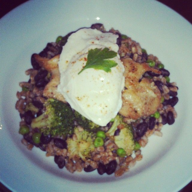 easy Date Night Dinner: poached egg over baked chicken parm & farro ...