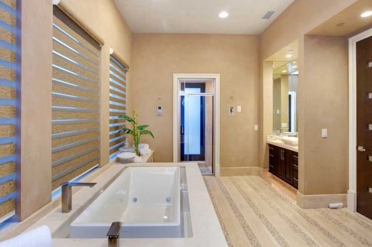 Beige Paint Color In This Zen And Spa Like Master Bathroom