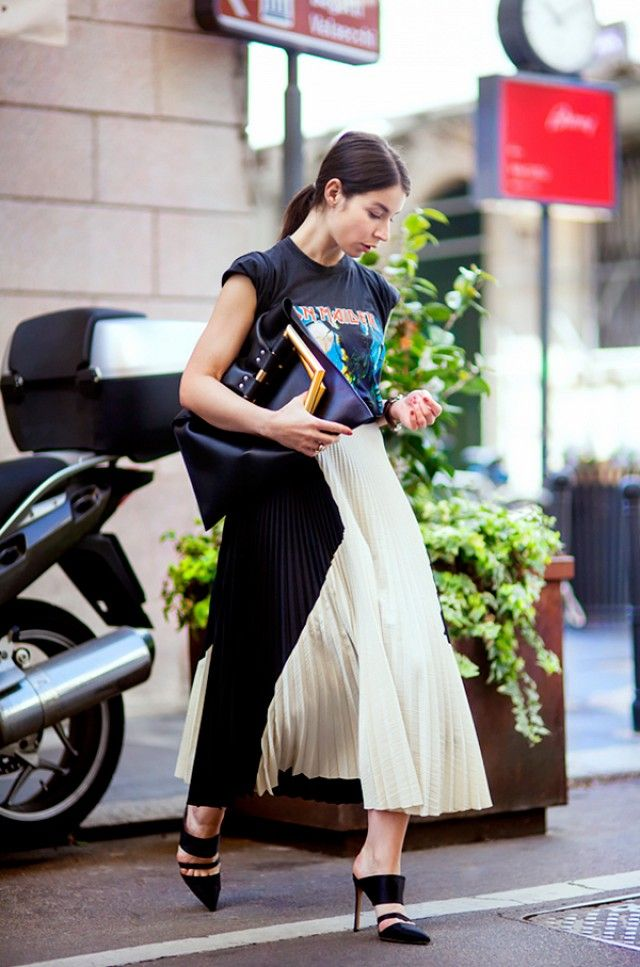 Irina Lakicevic: Vintage t-shirt; Proenza Schouler skirt; Céline bag, Gianvito Rossi heels