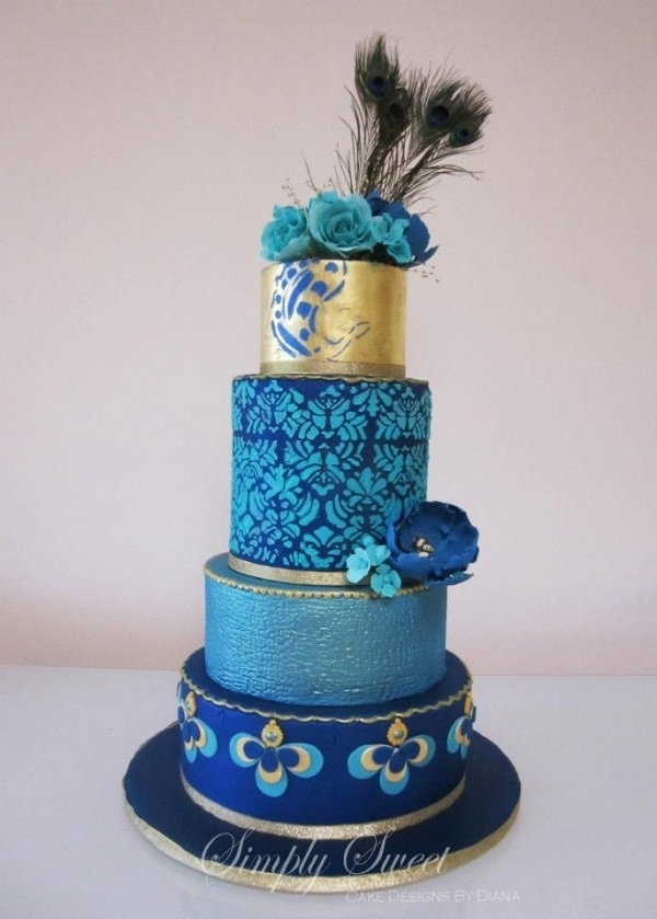 Peacock Blue Wedding Cake  See more wedding tips at www.weddingsonline.in