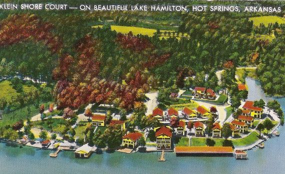 Klein Shore Court - Lake Hamilton, Hot Springs Arkansas - 1950's vacation invitation from the resort