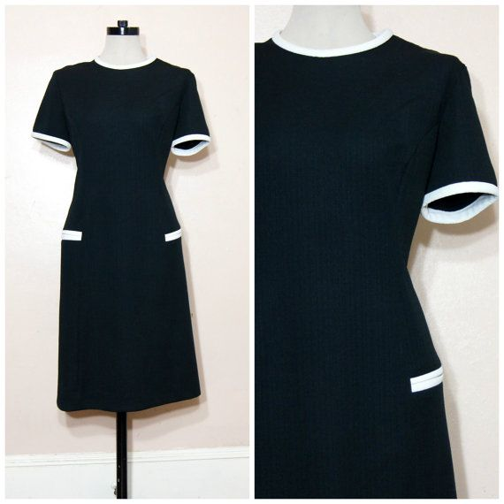 60s mod black and white dress large xl belted by whitewavevintage 58