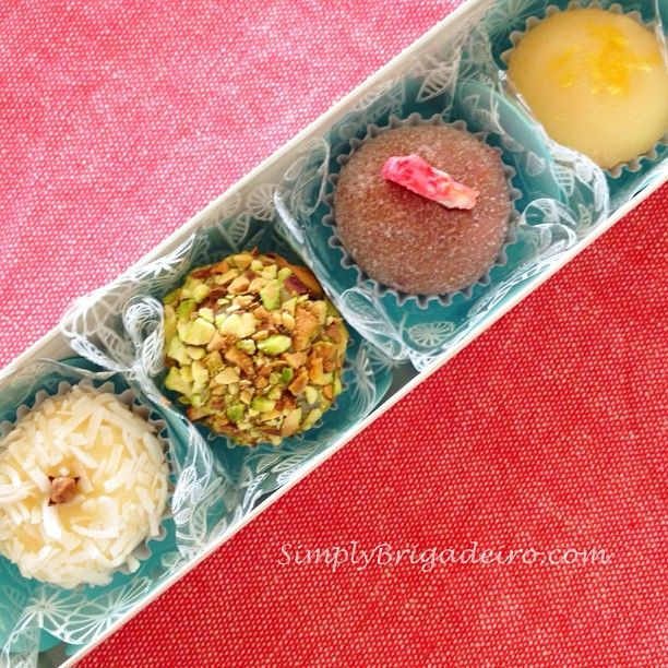 Coconut, Pistachio, Strawberry and Lemon. Gourmet Brigadeiro.