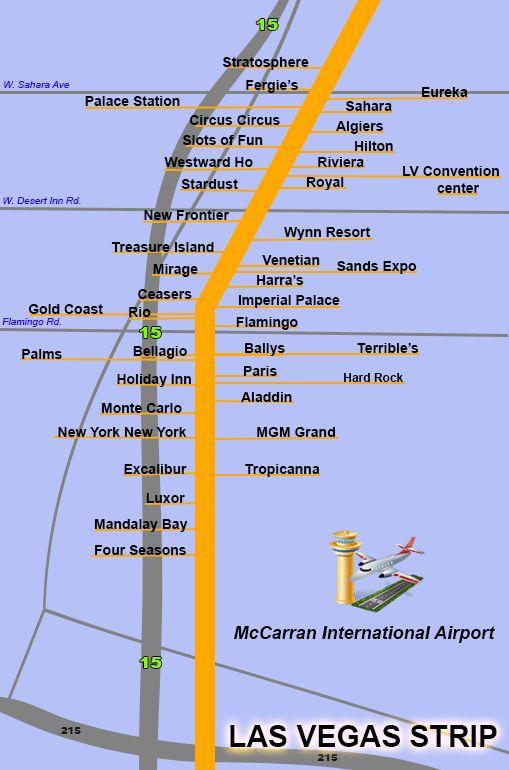 strip Map vegas hotel of in las