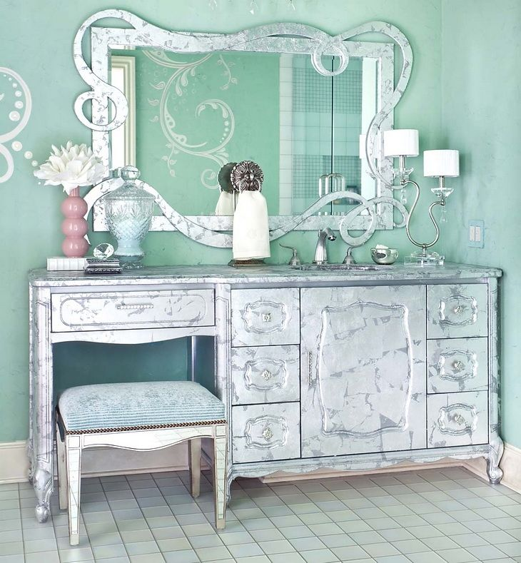 Silver vanity for the home pinterest for Silver vanity table