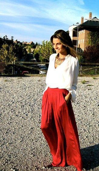 Long Red Skirt / Falda Larga y Roja (by Silvia  Garcia Blanco) http://lookbook.nu/look/4144504-Long-Red-Skirt-Falda-Larga-y-Roja