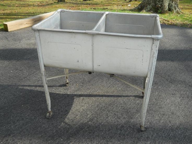 ... Antique Primitive Galvanized Metal Double Laundry Wash Tub ! eBay