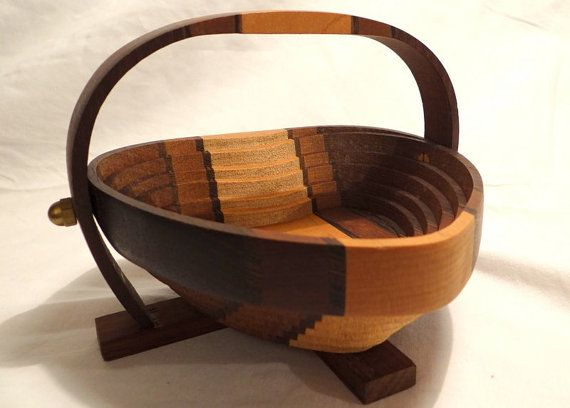 Handmade Baskets From Ohio : Collapsible handmade wooden heart basket