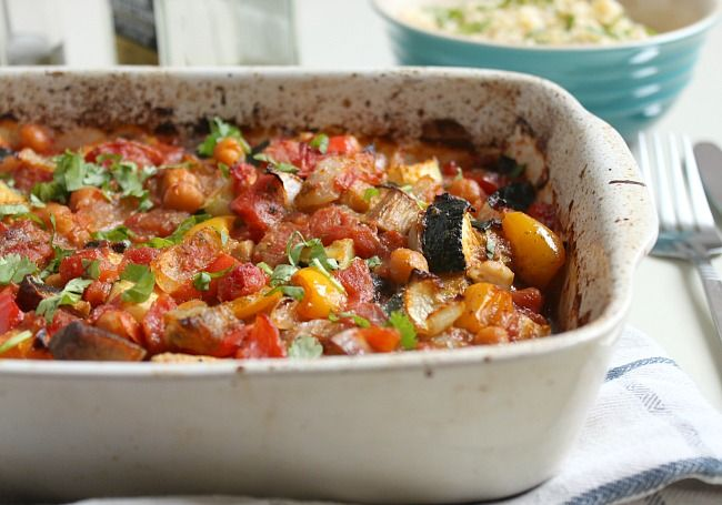 Easy roasted vegetable ratatouille with chickpeas | Recipe