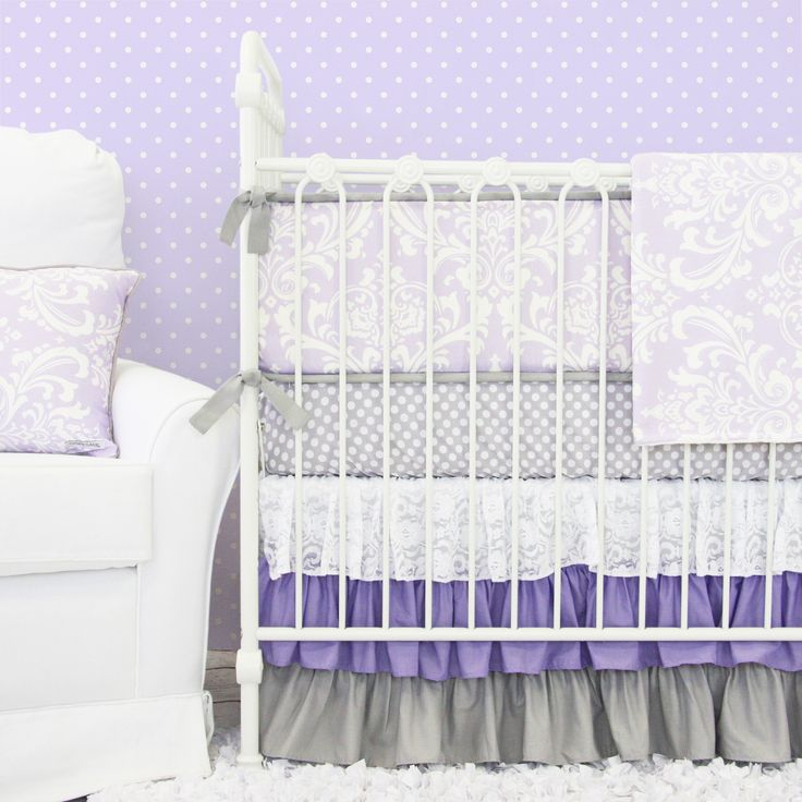 Lane baby bedding brand new purple damask bedding with purple and gray