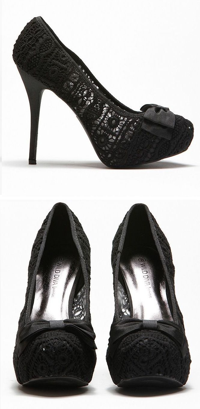 Black lace heels with bow - photo#4