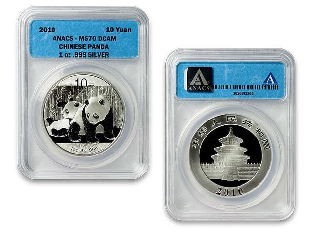 2010 Silver Panda ANACS MS70 Coin