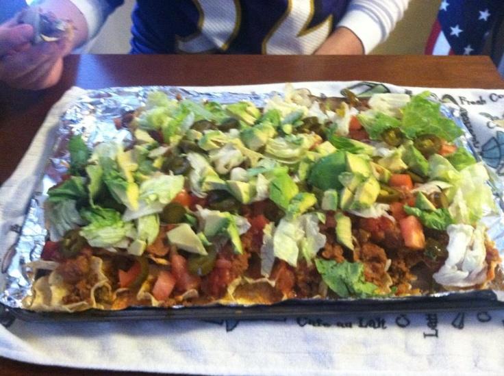 Loaded nachos: 1lb ground turkey, 1 avocado, taco mix, cheese, lettuce ...