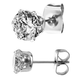 #8: 316L Stainless Steel Clear Cz Stud Earrings Size (2mm,3mm,4mm,5mm,6mm,7mm,8mm,9mm,10mm) You Choose Your Size, Comes with Free Gift Box