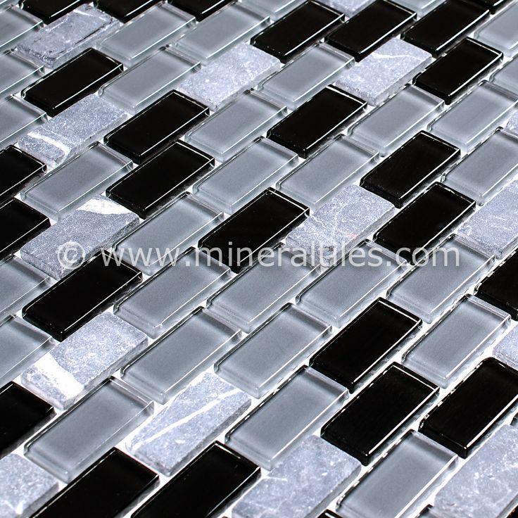 mini glass subway mosaic tile black. Black Bedroom Furniture Sets. Home Design Ideas