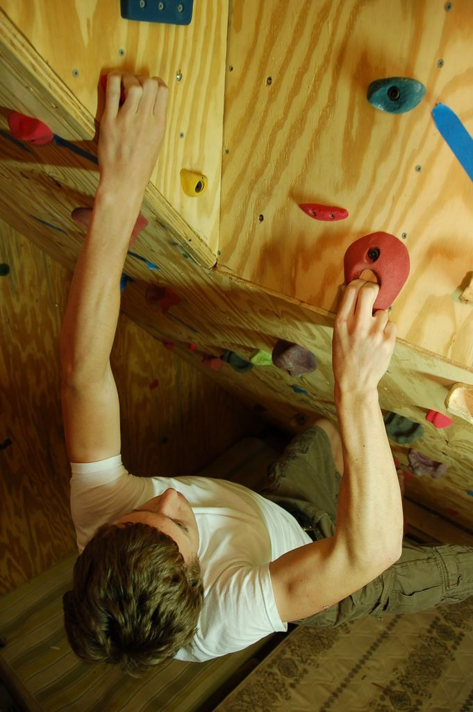 make your own climbing wall or bouldering cave in the basement or in