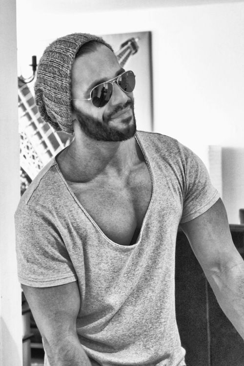 Very nice T-shirt  shades #men #fashion #beard (maybe not such a low cut shirt but like the style)