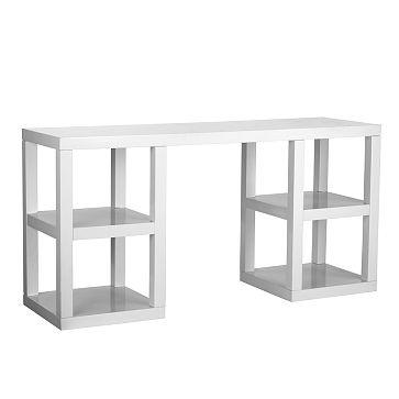 West elm 2x2 console white lacquer desk home pinterest - West elm parsons console ...