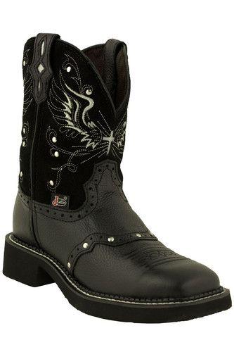 Justin Gypsy Black Wings Square Toe Women's Cowboy Boots L9977   eBay