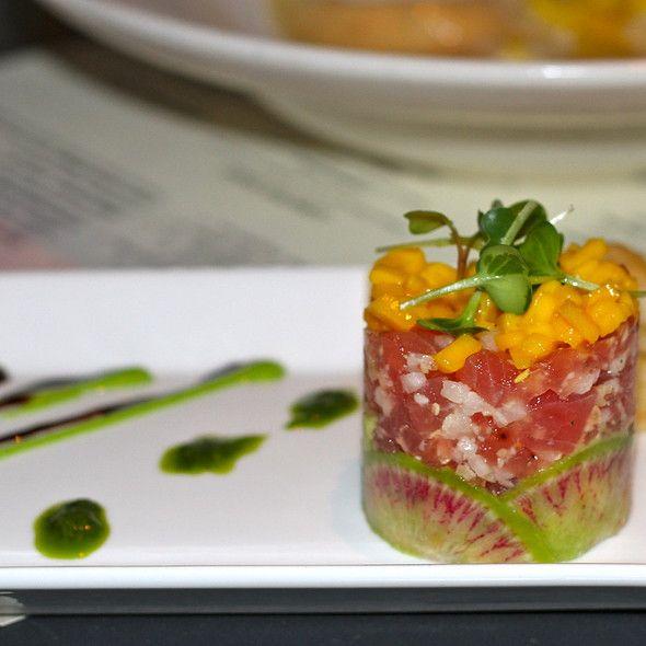 Yellowfin Tuna Tartare with avocado, mango, radish, wasabi