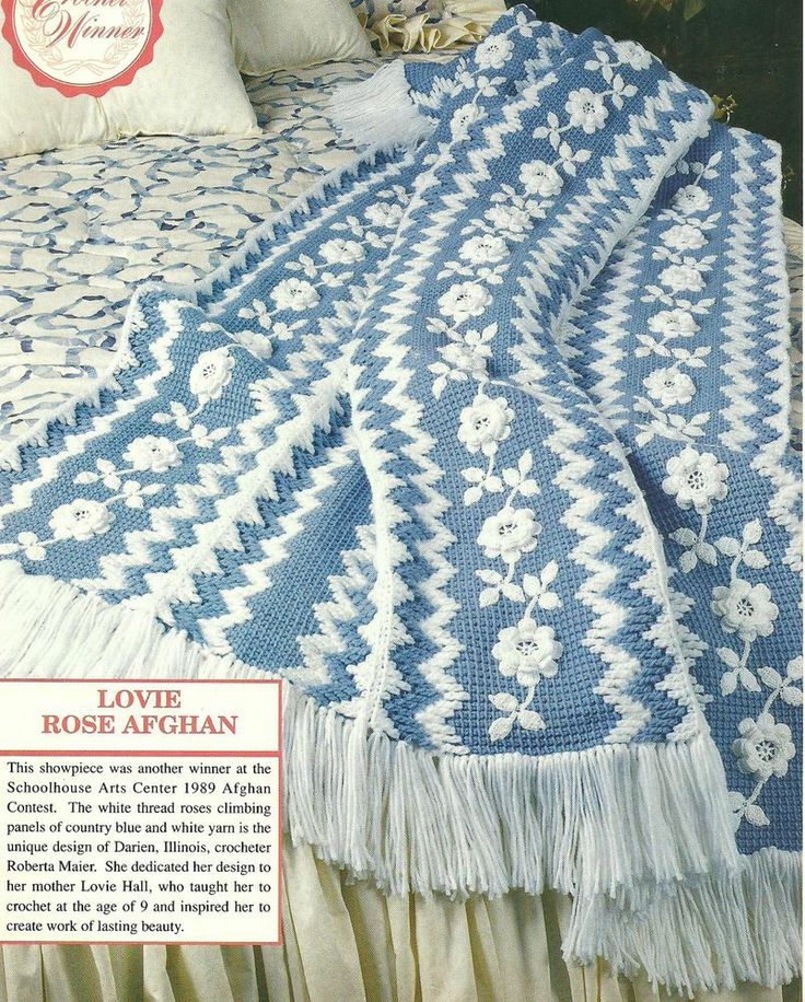 Crochet Rose Afghan Pattern : Lovie Rose Afghan crochet PATTERN INSTRUCTIONS