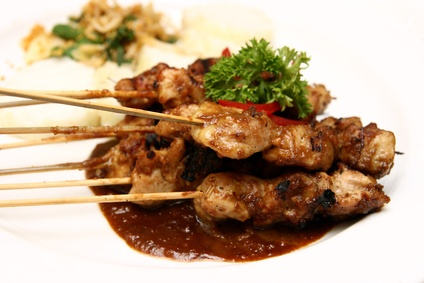 Chicken Skewers with Spicy Blueberry Barbecue Sauce recipe