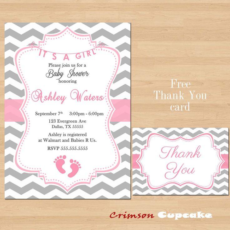 printable chevron girl pink grey baby shower invitation its a girl