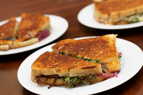 Turkey Grilled Cheese Sandwich With Pickled Onions Recipe — Dishmaps