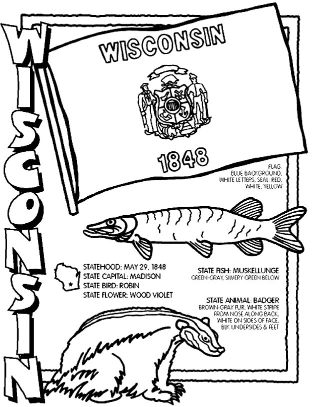 Wisconsin Coloring Page Kids Crafts Pinterest Wisconsin Coloring Pages
