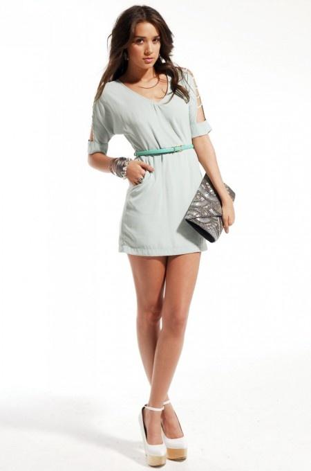 Strappy Shoulder Minidress w/ Belt in Mint #minidress #fashion   shopakira.com